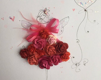 Lolli and Shell Original mixed media Fairy art sketch