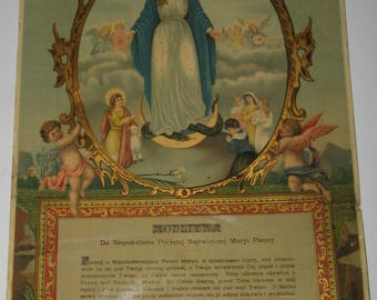 Vintage Paper Reproduction of a Religious Icon.Printed in Poland 1872-1900