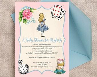 Personalised Alice in Wonderland Baby Shower Invitation Cards