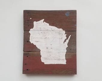 Wisconsin Silhouette // Paint-splattered Reclaimed Wood Sign