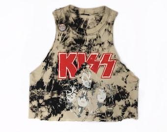 Vintage KISS Hand Painted Tie Dye Crop Tank Top