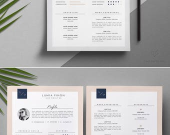 Creative Resume Template _ Stylish Resume Template + Cover Letter _ Feminine CV Design _ Teacher Resume Writing _ Instant Download / 'Lumia'