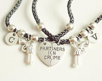Couples bracelet, Personalized couples bracelets, Partner in Crime bracelet, Sister bracelet set, Best friend bracelet set , Set of two gift