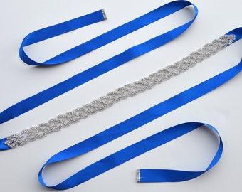 Braided Rhinestone Sash | Something Blue Bridal Jeweled Belt | Crystal Embellishment | Wedding | Prom | Bridesmaid Dress Applique | Style 10