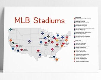 Baseball Stadium Map Etsy - Us map of baseball stadiums