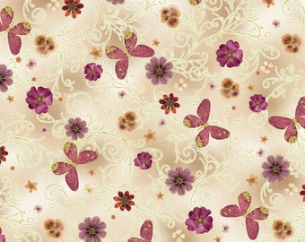 Pressed Butterfly Floral Beige – Floral Impressions – Kanvas Studio – Benertex – Quilting Patchwork Fabric FQ