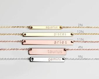 Astrology necklace Zodiac Bar Necklace Constellation valentine's gift pisces aquarius leo Cancer - ZBN