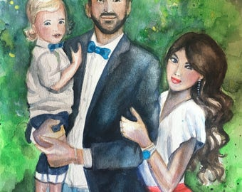 Family Portraits.Custom Portraits. Watercolor Paintings. Custom Paintings from Photo. Watercolor Art. Original Paintings. Personalized Gift