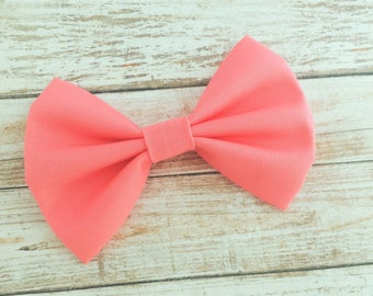 Salmon Pink Fabric Hair Bow Clip or Headband / Salmon Pink Bow / Melon Pink Hair Bow Clip / Baby Bow Headband / Solid Peachy Pink Bow Clip