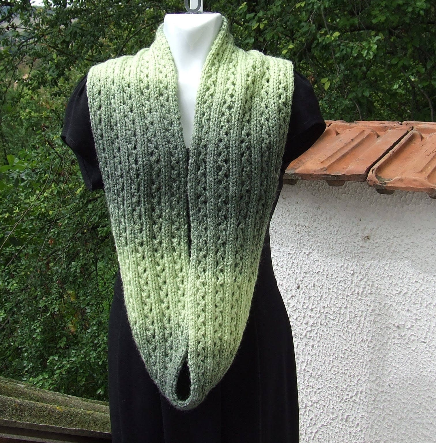 Hand Knit infinity scarf - Lacy knit Infinity cowl - Ladies hand ...