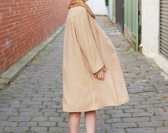 Vintage 1950s CASHMERE Coat / Mink Fur Collar / Luxurious Cashmere Coat / Designer Quality 1950s Coat / M/L