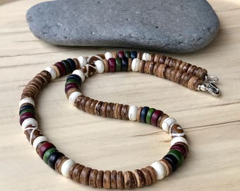 Coconut necklace Men's beach necklace  Beaded necklace Men's necklace  ( #32)