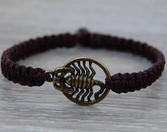 Scorpio Bracelet,Scorpio Jewelry,Mens String Bracelet,Scorpio Zodiac Jewelry,Mens Bracelet,Good Luck Bracelet,Gift for Him