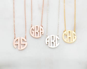 Dainty Monogram Necklace • Custom Block Monogram Initials Necklace • Personalized Name Jewelry • Bridesmaids Gifts • Wedding Gifts • NH09