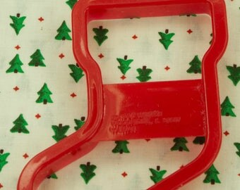 1993 Wilton Red Stocking Plastic Christmas Cookie Cutter Taiwan