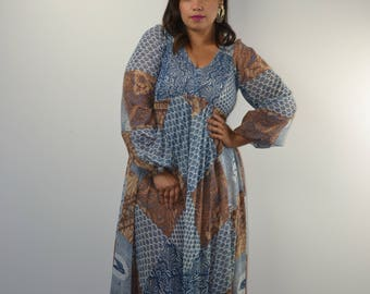 Denise Are Here Floral 70s Dress| 70s Maxi Dress| Long Sleeve Maxi Dress| Off The Shoulder| Boho Maxi| Festival Dress| 70s Smocked Maxi