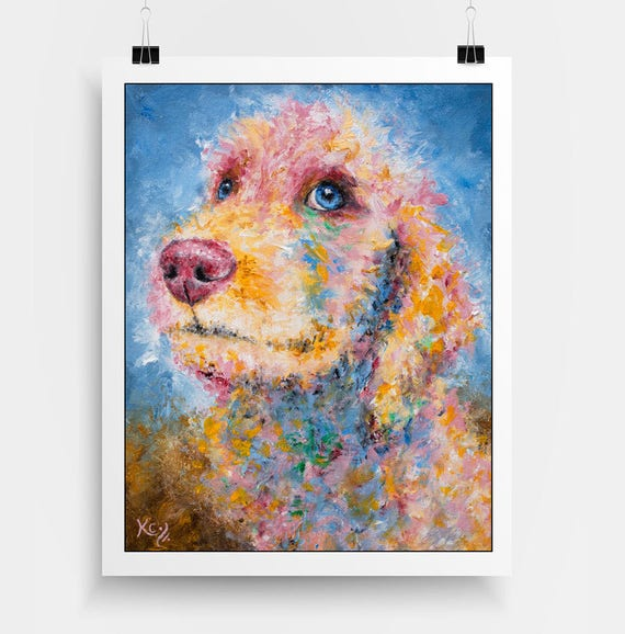 "Golden Doodle Puppy Art - Golden Doodle Gifts, Goldendoodle Dog Art, Puppy Dog Wall Art, Dog Art Print, Print of My Dog Painting ""Reese""."