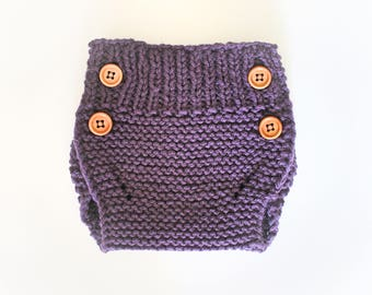 Knitted Baby Diaper Cover - Knitted Baby Bloomer - Deep Purple - Dress Diaper Cover