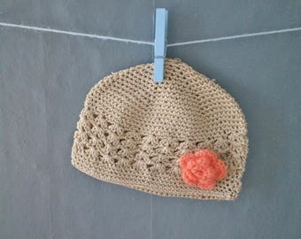 Toddler Kufi Hat with Apricot Mohair Flower Bow