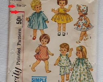 Vintage Simplicity Pattern 4839 For 15 inch Dolls