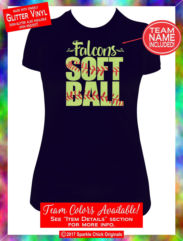 Softball Mom Shirt Softball Custom Glitter Vinyl Tee Custom