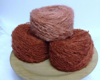 Pumpkin Cheesecake Uniquely Textured Vintage Yarn Cakes Bundle of Yarn for Crocheting or Knitting Handmade Gifts or Fiber Art Projects