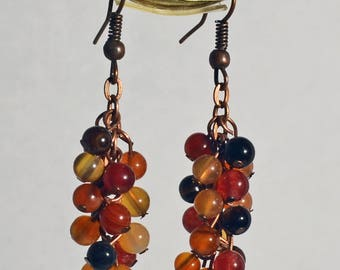 Agate Beads with Antique Copper Earrings