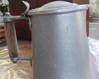 Tin coffee pot french vintage