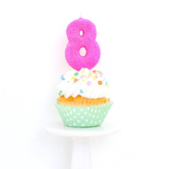 "3"" Number 8 Candle, Giant 8 Candle, Eight Candle, Hot Pink Birthday, Pink Party, Pink Birthday Candle, Glitter Birthday, Pink Candle"