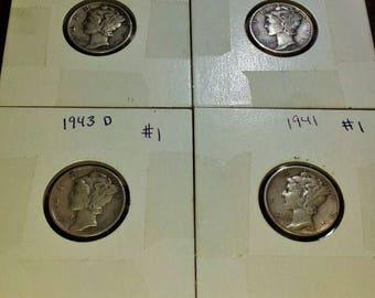 1937,1941,1942,1943 Mercury Dimes