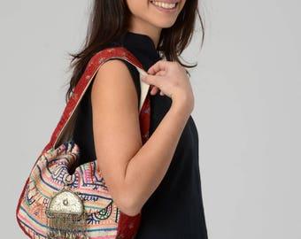 Boho Chic Bag, Ethnic bag, Shoulder Bag, Rabari Embroidery bag, Gypsy Bag, Afghan Jewelry, Woven Bag, Unique Fabric Bag, Colorful Bag