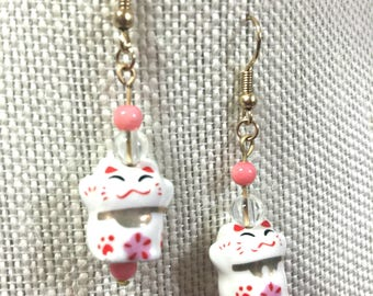 Pink ad White Lucky Cat Earrings