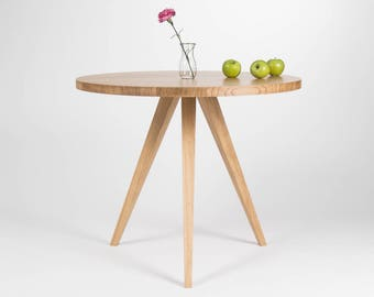 Round dining table, kitchen table, made of solid oak wood, Ø 90 cm