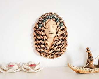 Ceramic wall decor; White woman wall sculpture; Wall hanging; Wall mask; Fine art; Home or Living room decor; 3D wall art; Gift for mom;