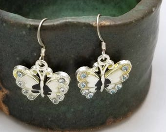 White Charm Butterfly Earrings, White Enameled Butterflies, White and Black Butterflies, Crystals, Lepidoptera , Nature, Flying Butterfies