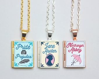Jane Austen Book Locket Charms. Book Charm. Pride and Prejudice Necklace. Austen Jewellery. Literary Gift. Literary Wedding. Book Lover