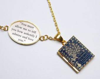 Pride and Prejudice Book Quote and Locket Charm. Jane Austen Vintage Book Locket. How Ardently Mr Darcy Necklace Jewellery. Literary Gift
