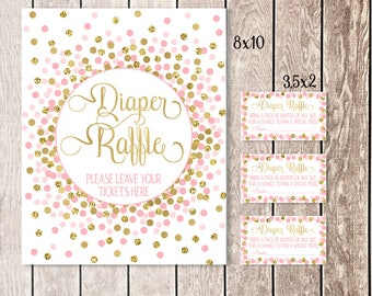 Diaper Raffle Sign Diaper Raffle Ticket Pink And Gold Confetti Baby Shower Diaper Raffle Sign And Cards Printable Baby Shower Games
