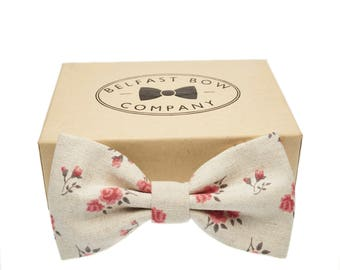 Handmade Linen Bow Tie in Light Grey, Floral - Adult & Junior sizes available