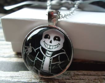 Sans - Silver Glass Necklace or Key-chain - Undertale, RPG, Monsters, Video Games, Hearts, Toby Fox, PS4, Chara