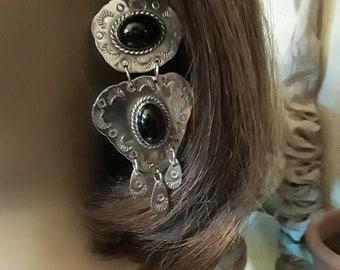 Sterling silver black onyx pierced dangling Southwestern style earrings
