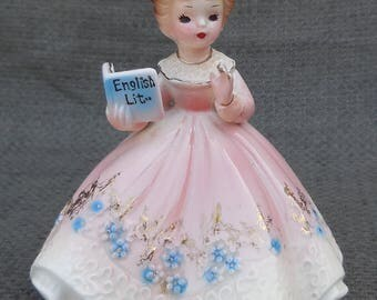 Rare JOSEF ORIGINALS English Major FIGURINE...Vintage Literature Scholar Ornament...Retro Teacher Literary Bookish Graduation Gift!