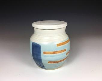 Pottery Tea Mug with Lid, Stoneware, No Handle, Blue, Tan