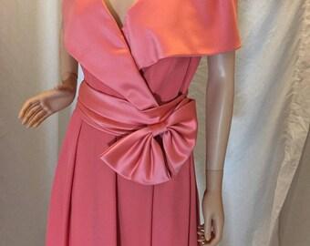 Vintage 60s 70s Positively Ellyn Short Formal Cocktail Dress Peach ILGWU Union Tag