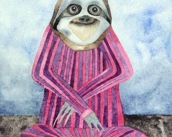 Whimsical art, sloth art, original art, watercolor painting, yoga studio art, nursery art, modern nursery decor, whimsical animal art, yoga