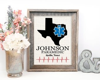 EMT Gifts - Personalized Print with State, Name, and City