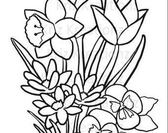 Spring flowers outline mightylinksfo