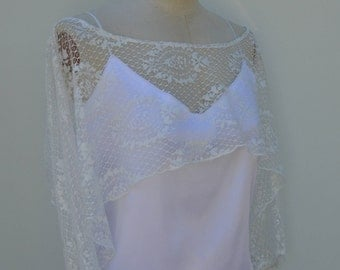 Lace top wedding burp lace ecru wedding, Bridal off white poncho, cape ecru lace, ivory lace, Bridal, lace top