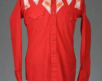 ON SALE Vintage 70s Red Rockabilly 100% Cotton Western Pearl Snap Shirt 16-33 M