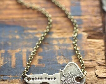 Vintage Ford Model T Car Key Road Trip Necklace | Hand Stamped Vintage, Repurposed, Travel Adventure Jewelry Gift